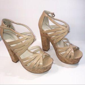 Nine West Cork Platform Leather Strappy Sandals